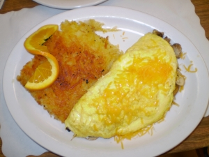 Ham, cheddar and mushroom omelet